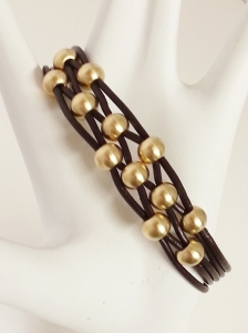 Brown Cord Gold Beads Bracelet