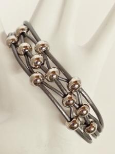 Silver Leather Bracelet (2)